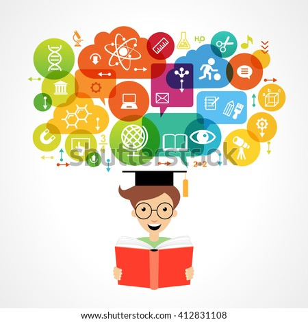 The concept of modern education. Child's head surrounded by science and education icons in brightly colored circle.  - stock vector