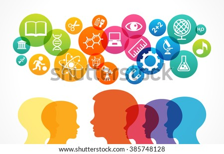 The concept of modern education. Template with silhouette of the baby's head surrounded by science and education icons in brightly colored circled. The generation of knowledge. File is saved in 10 EPS - stock vector