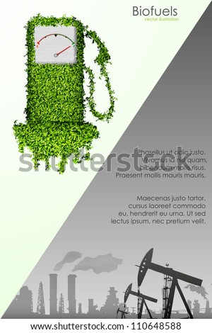 the concept of natural sources of supply and polluting factories - stock vector