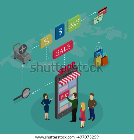 Concept online shopping people buy phone vector de stock497073259 the concept of online shopping people buy the phone on a world map background and gumiabroncs Gallery