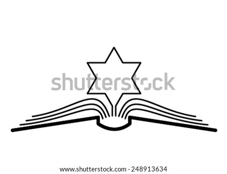 The concept of the book pages and star of David. - stock vector