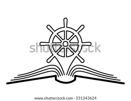 The concept of the book pages, pointer and rudder. - stock vector
