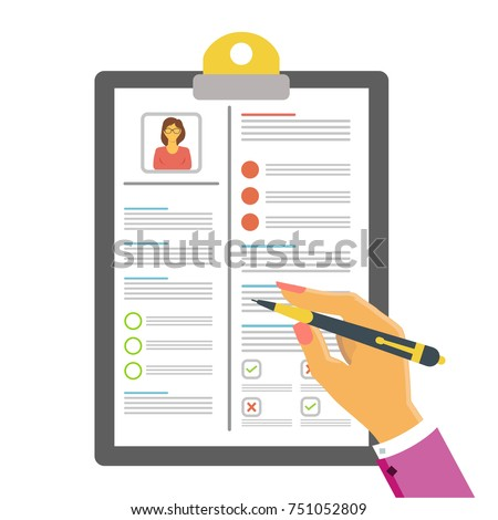 concept document resume writing reading resume stock vector