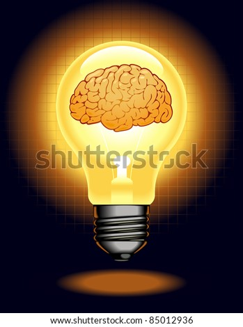 the concept of the emergence of the idea.shining lamp with the brain - stock vector