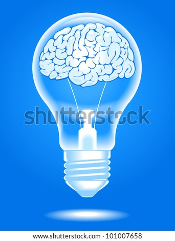the concept of the emergence of the idea.shining lamp with the brain. Brain storming. File is saved in AI10 EPS version. This illustration contains a transparency - stock vector