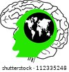 the concept of the emergence of the idea.shining world with the brain - stock vector