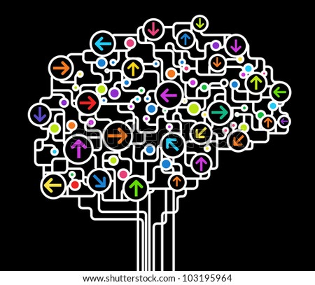 the concept of  thinking.background with brain. - stock vector