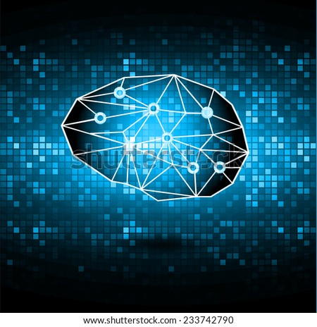 the concept of thinking.background with brain.This illustration contains a transparency. technology digital website graphic computer background. - stock vector