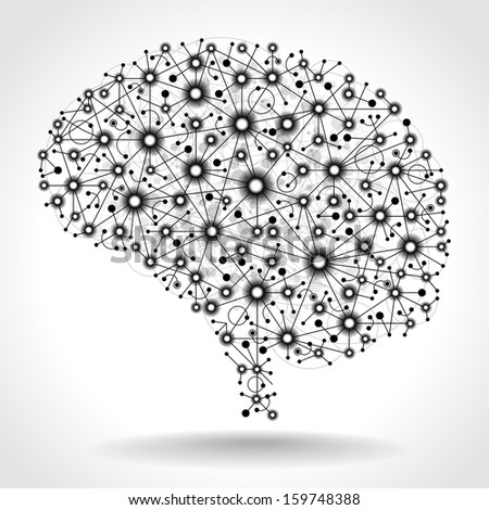 The concept of thinking. Nodes connected by straight lines form the shape of the human brain. The file is saved in the version AI10 EPS. This image contains transparency. - stock vector
