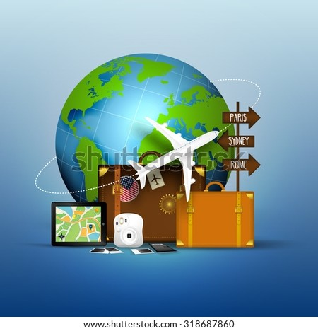 The concept of Travel of Famous World . vector - stock vector