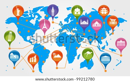 the concept of traveling around the world. Famous international landmarks. - stock vector
