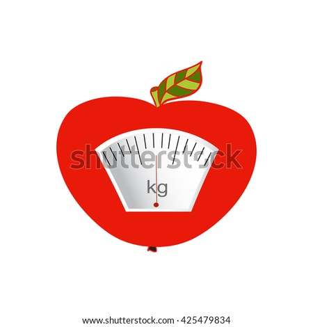 The concept of weight loss, healthy lifestyles, diet, proper nutrition. Fruit and scales. Vector. Hand-painted - stock vector