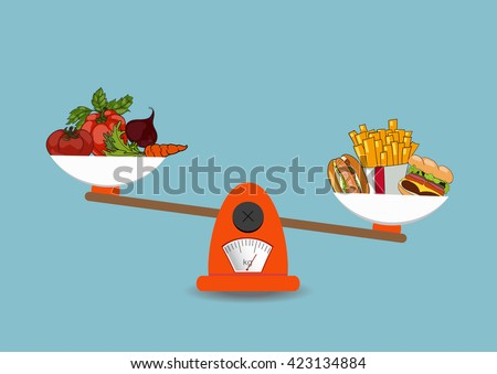 The concept of weight loss, healthy lifestyles, diet, proper nutrition. Vegetables and fast food on scales. Vector. Hand drawn - stock vector