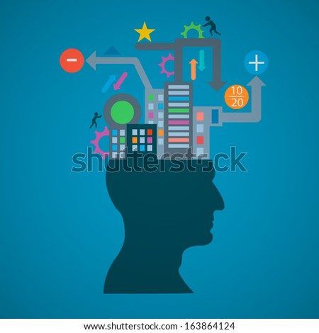 The concept silhouette of the head, brain, and pulses. process of human thinking. The concept of intelligence. People communication with the outside world. - stock vector
