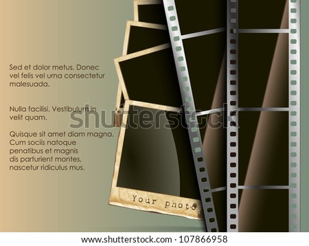 the conceptual background of old technology. film with a photo - stock vector