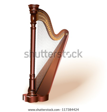 The concert harp. Fully editable vector.