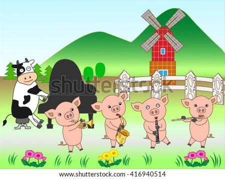 The concert of the domestic animal at the ranch. - stock vector