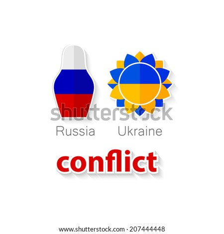 The conflict between Russia and Ukraine - symbolic illustration - flags of both countries and their symbols: Russian doll - matryoshka and Ukrainian flower - sunflower with inscription - conflict - stock vector