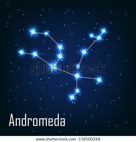 """The constellation """" Andromeda"""" star in the night sky. Vector illustration - stock vector"""