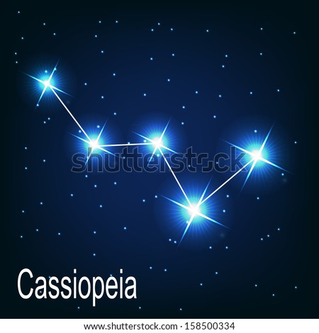 """The constellation """"Cassiopeia"""" star in the night sky. Vector illustration - stock vector"""
