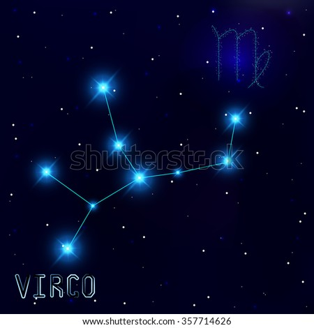 The Constellation Of Virgo. Starry sky. Dark blue background of space. Bright shining stars. Zodiac constellation. Astrological sign. Vector illustration.