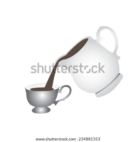 The contour of the Cup and teapot with floral element.