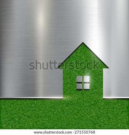 The contour of the house on a grass background. Vector image. - stock vector
