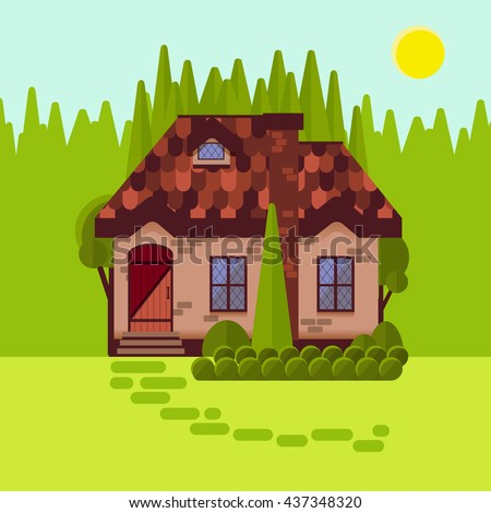 The Cottage In Woods Flat Style Bright Sunny Day Cosy Little House