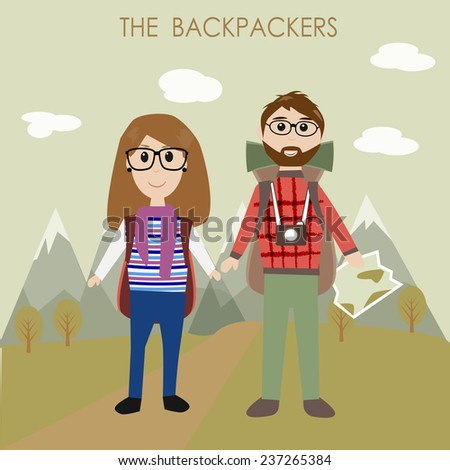 The couple backpackers  - stock vector