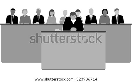 The court of law female judge - stock vector