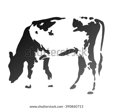 The cow chews a grass. Simple silhouette. Illustration EPS8