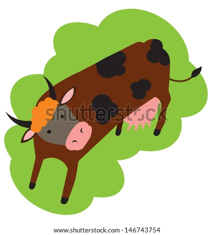 The cow is grazed on a meadow, a vector - stock vector