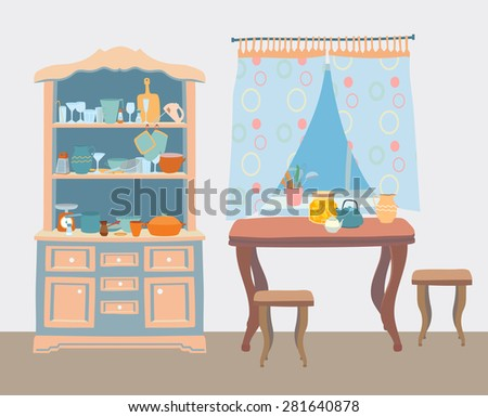 The cozy old kitchen with table, stools, window curtains, cupboards with a lot of kitchen utensils. Editable Vector illustration. - stock vector