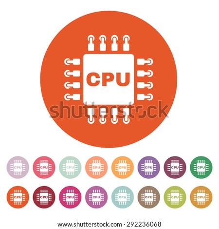The cpu icon. Microprocessor and processor symbol. Flat Vector illustration. Button Set - stock vector