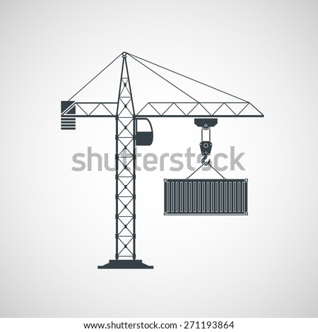 The crane lifts the container. Vector image. - stock vector