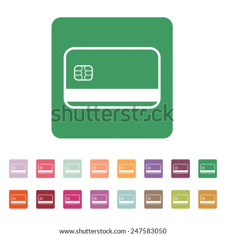The credit card icon. Bank card symbol. Flat Vector illustration. Button Set