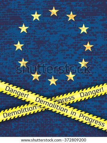 The crisis in the European Union.Political metaphor. - stock vector