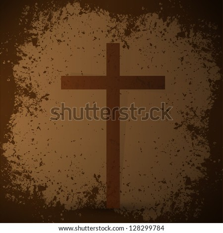 The cross on the grunge background. The biblical concept. - stock vector