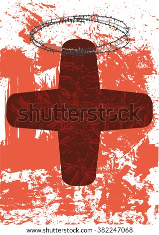 The cross with a crown of thorns as a symbol for the easter passion - stock vector