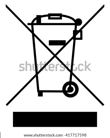 The Crossed Out Wheelie Bin with Bar Symbol , Waste Electrical and Electronic Equipment recycling sign , vector illustration - stock vector