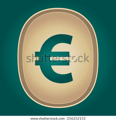 The currency sign of European Euro Symbol Badge, Label or Sticker, Green Background