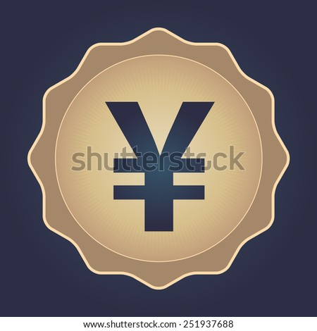 The currency sign of Japanese Yuan, Yen Badge, Label or Sticker, Navy Background