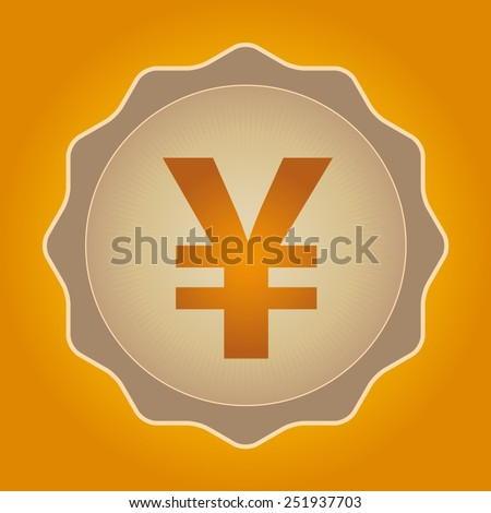 The currency sign of Japanese Yuan, Yen Badge, Label or Sticker, Yellow Background