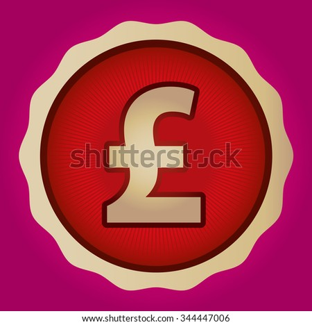 Currency Sign Pound Sterling Symbol Badge Stock Vector 344447006