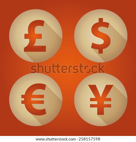 The currency signs of Dollar, Euro, Pound and Yen. Gold Badge, Label or Sticker on the orange background.