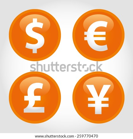 The currency signs of Dollar, Euro, Pound and Yen. Orange Badge, Label or Sticker on the white background. - stock vector