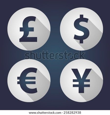 The currency signs of Dollar, Euro, Pound and Yen. White Badge, Label or Sticker on the navy background.