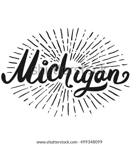 Custom hand lettering creative typography hand stock vector the custom hand lettering creative typography hand drawn greeting card with text michigan m4hsunfo