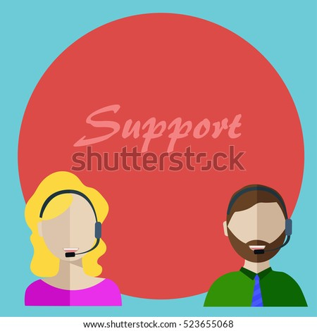 the customer support center. male and female employees of the customer support center at work. infographics design web elements vector illustration.