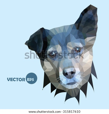 The cute dog listens raising the ear. vector illustration done in the style of polygonal graphics (low-poly) dogs on an isolated background. - stock vector
